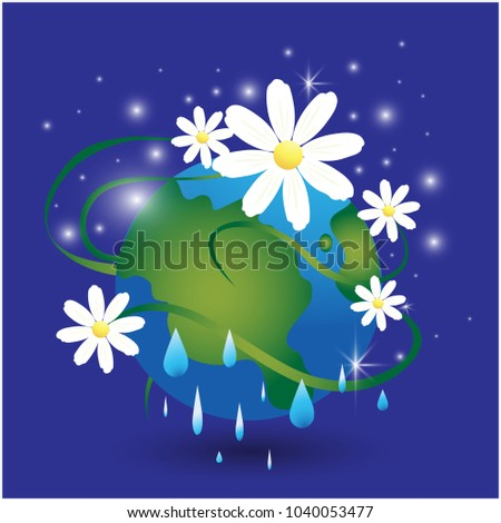 Camomile earth flat illustration planet rain stock vector 1040053477 camomile earth flat illustration of planet with rain water drops save the earth eco poster altavistaventures Images