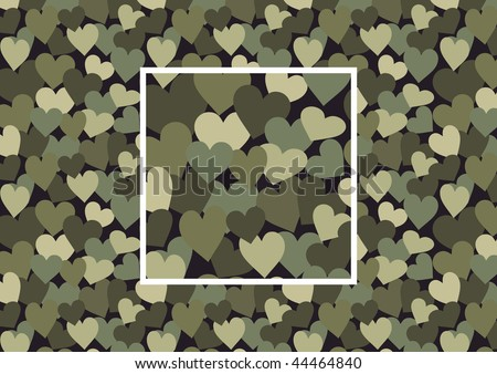 Camouflage consisting of hearts, vector seamless pattern with square sample in swatches
