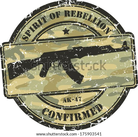 camouflage grunge stamp. Assault rifle ak-47