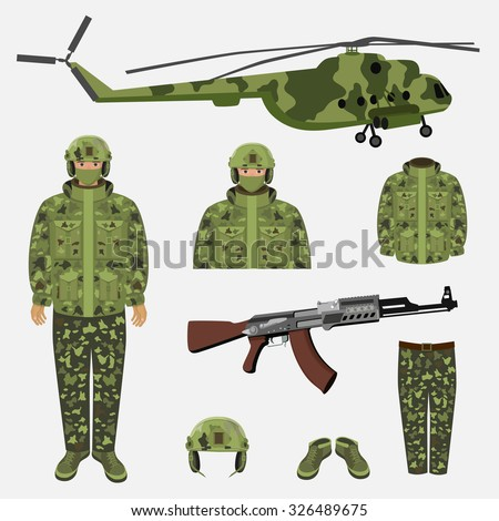 Camouflage, helmet, headphones and jacket. Vector illustration of military uniform. War icon. Military pants and shoes. Machine gun isolated. Uniform for soldier and helicopter.