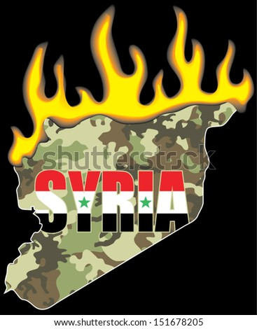 Camouflage map of Syria in flames.Civil war concept - stock vector