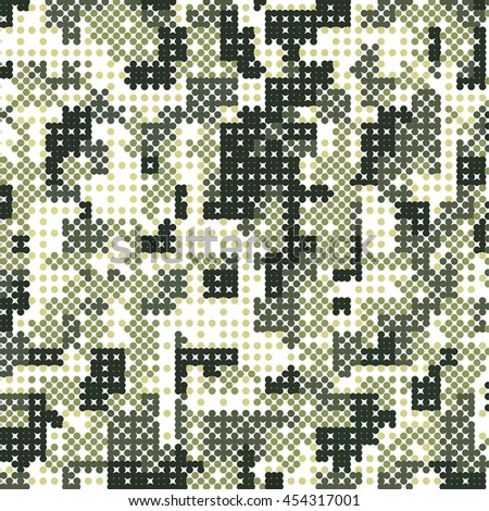 Camouflage military halftone pattern background. Vector illustration, EPS - stock vector