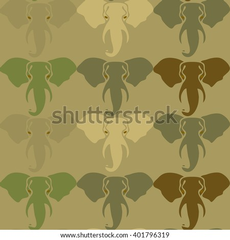 Camouflage pattern with elephants. Seamless vector pattern, Hand drawn elephants head silhouette. Stylized camo animal pattern. Fabric-textile-print design. Seamless camouflage pattern. - stock vector
