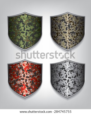 Camouflage shield illustration - stock vector