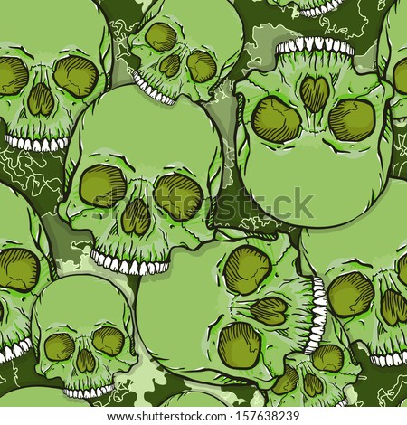 Camouflage Skull Background. Vector Seamless Pattern.
