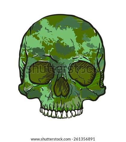 Camouflage skull isolated on white - stock vector