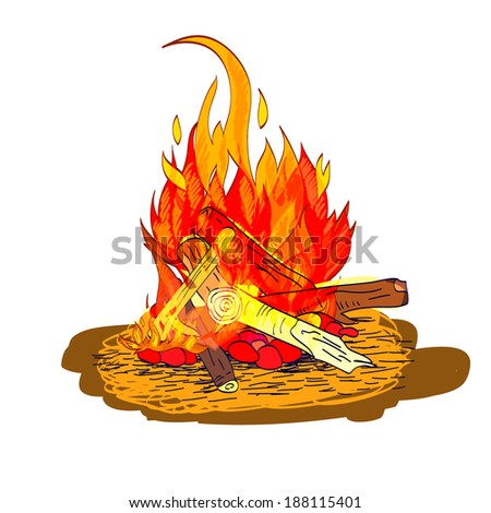 Camp fire flame burn with fireplace wood and stones sketch isolated emblem vector illustration - stock vector