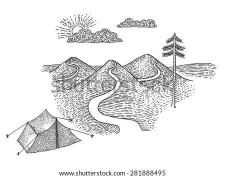 Camp near mountains - stock vector