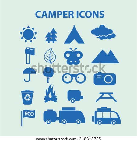 camper icons - stock vector