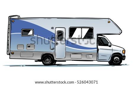 Camper Van Illustration Side View Stock Vector 526043071