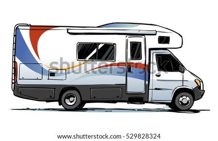 Camper Van Illustration Side View Stock Vector 529828324