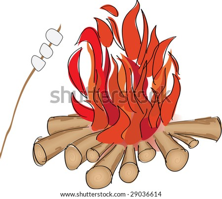 Campfire and marshmallow roast on a stick - stock vector