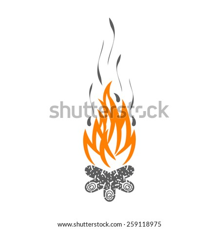 Campfire isolated on white background. Silhouette of fire - stock vector