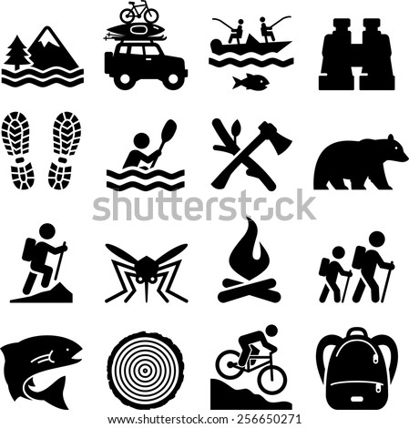 Camping, adventure and outdoors icons