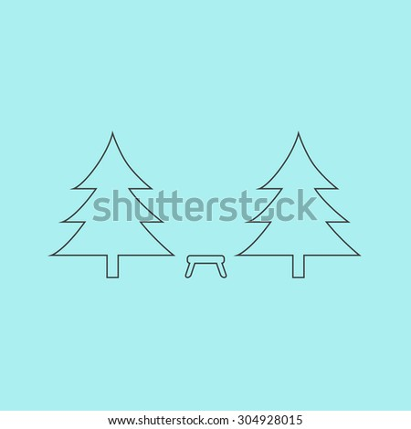Camping among the trees. Simple outline flat vector icon isolated on blue background