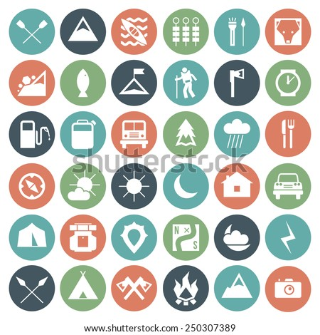 Camping and hiking icons set in flat style. White icons on a color plate