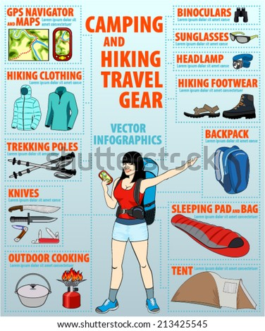 camping and hiking travel gear set - vector infographics - stock vector