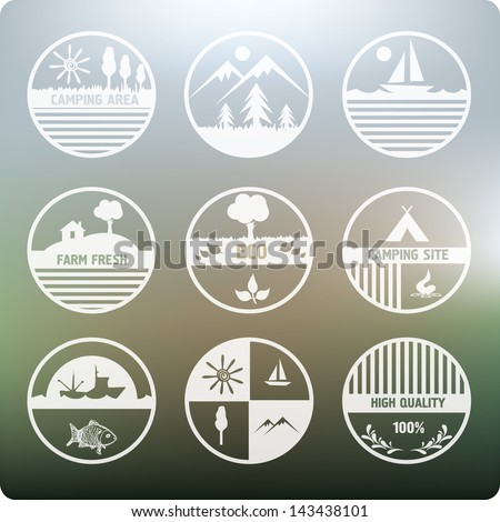 Camping and nature white labels set. - stock vector
