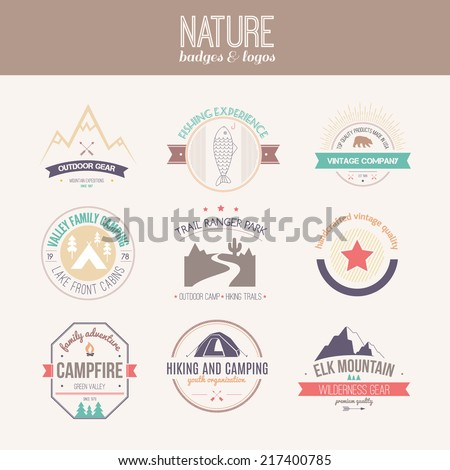 Camping and outdoor activity logo collection - mountain gear, hiking, summer camp labels, badges and design elements made in flat vintage vector style. - stock vector