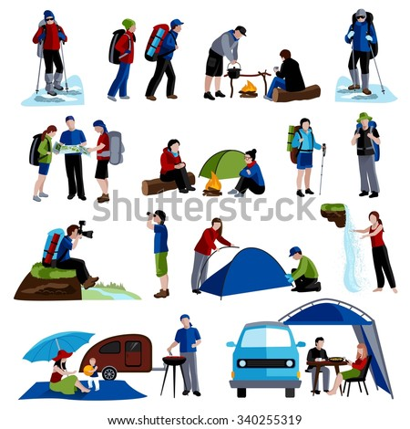 Camping and people icons set with tents rucksacks and map flat isolated vector illustration  - stock vector