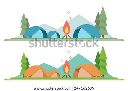 camping background flat design, vector - stock vector