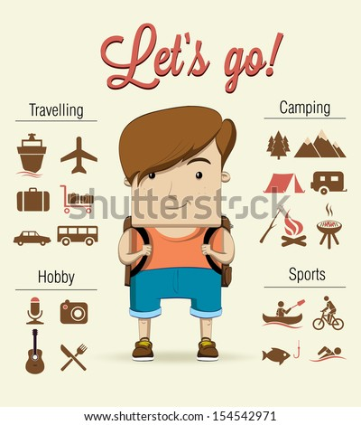 Camping boy character. Vector illustration - stock vector