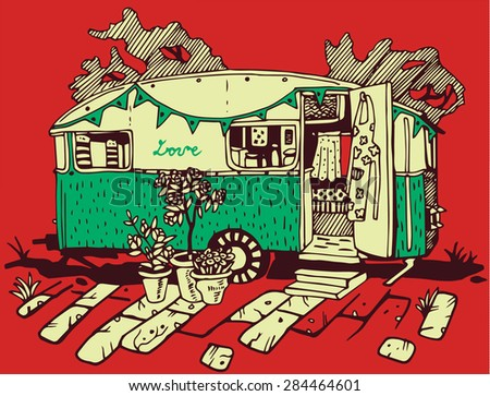 Camping Cars, Retro Style - stock vector