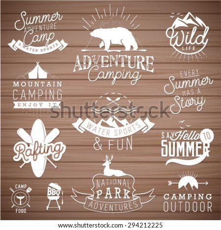 Camping Design Elements in Vintage Style on Wood Texture - stock vector