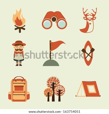 camping design over white background vector illustration - stock vector