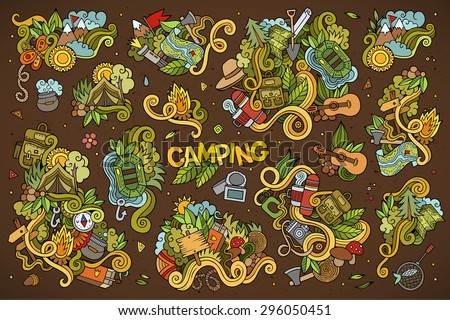 Camping doodles nature hand drawn vector symbols and objects - stock vector