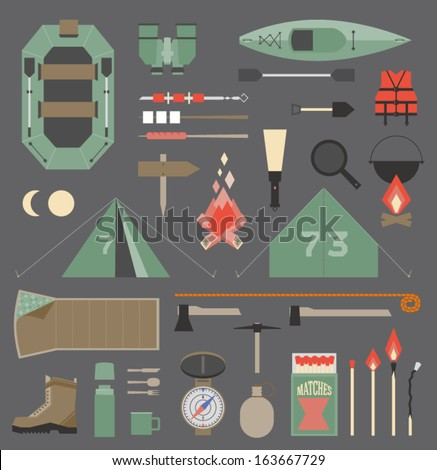 Camping equipment and tools. Flat objects, isolated on grey background. For travel and scout design. - stock vector