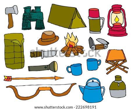 Camping Equipment Hand drawn Doodles