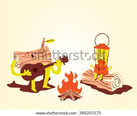 Camping equipment in a fire wood party, campfire with guitar - icon set and info graphics - stock vector