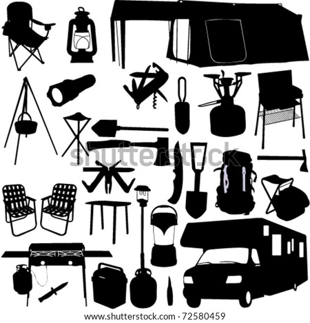 camping equipment 2 - vector - stock vector