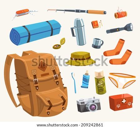 Camping equipment. Vector illustration. - stock vector
