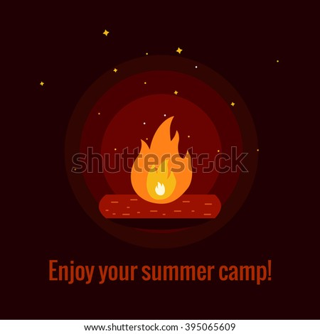 Camping fire background flat illustration. Camping fire background vector symbols. Vector illustration of night campfire. Campfire background for summer camp designs  - stock vector