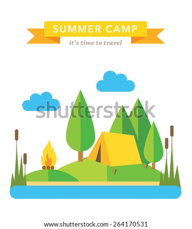 Camping flat vector background - stock vector