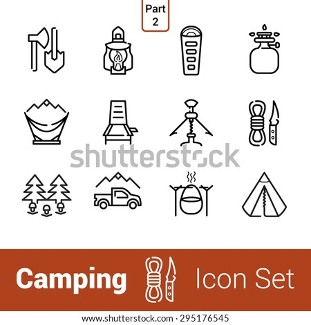 Camping high quality outline icon set. Part 2