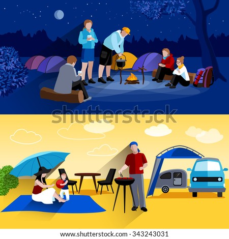 Camping horizontal banners set with camp at night and picnic symbols flat isolated vector illustration  - stock vector