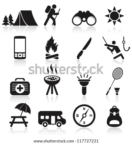 Camping icons - stock vector