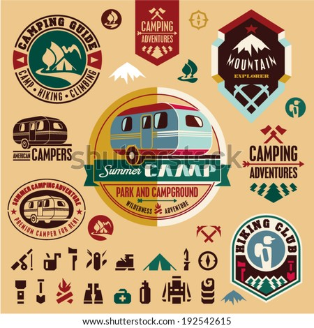 Camping icons. Camping equipment. Mountain. Camper. Camp badges and labels set. - stock vector