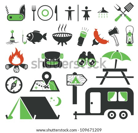 Camping icons collection - stock vector