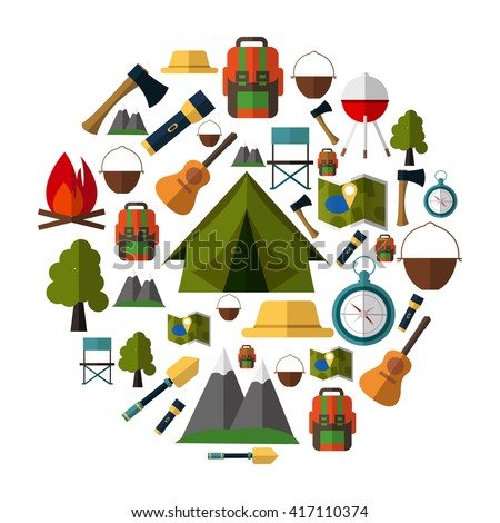 Outdoor Camping Gear Icons Collection Set Of Elements Tent