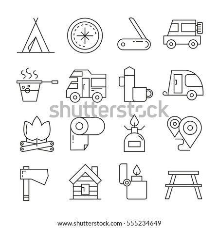 camping icons in thin line style on white background