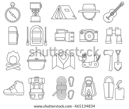 Camping Icons Monoline Collection Hike Outdoor Thin Line Elements Hiking Gear And Essentials Lineart