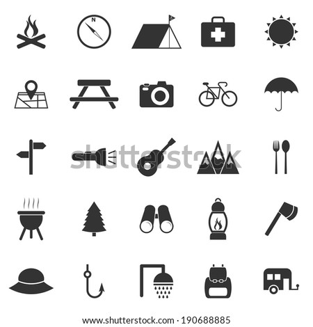 Camping icons on white background, stock vector - stock vector