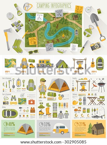 Camping Infographic set with charts and other elements. Vector illustration. - stock vector