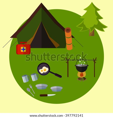 Camping landscape with tent . Adventure. Colorful design. Set icons. Vector flat banner set. Summer picnic grill - stock vector
