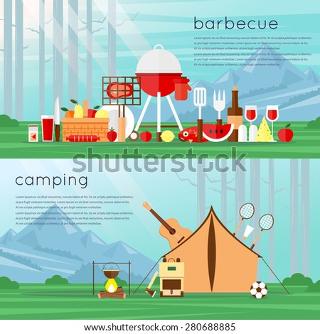 Camping landscape with tent and bonfire. Barbecue set of flat Icons. Landscape with trees and mountains. Adventure. Colorful design. Set icons. Vector flat banner set. Summer picnic grill party. - stock vector