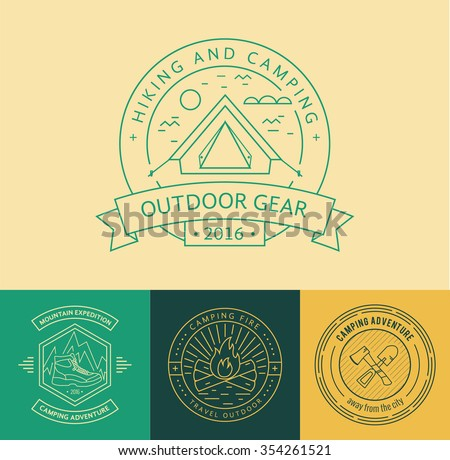 Camping logo badge set in outline style. Camping logo illustration. Vector camping badge concept. Mono line camping logo for your camping design. Camping logo isolated background. Camping concept  - stock vector